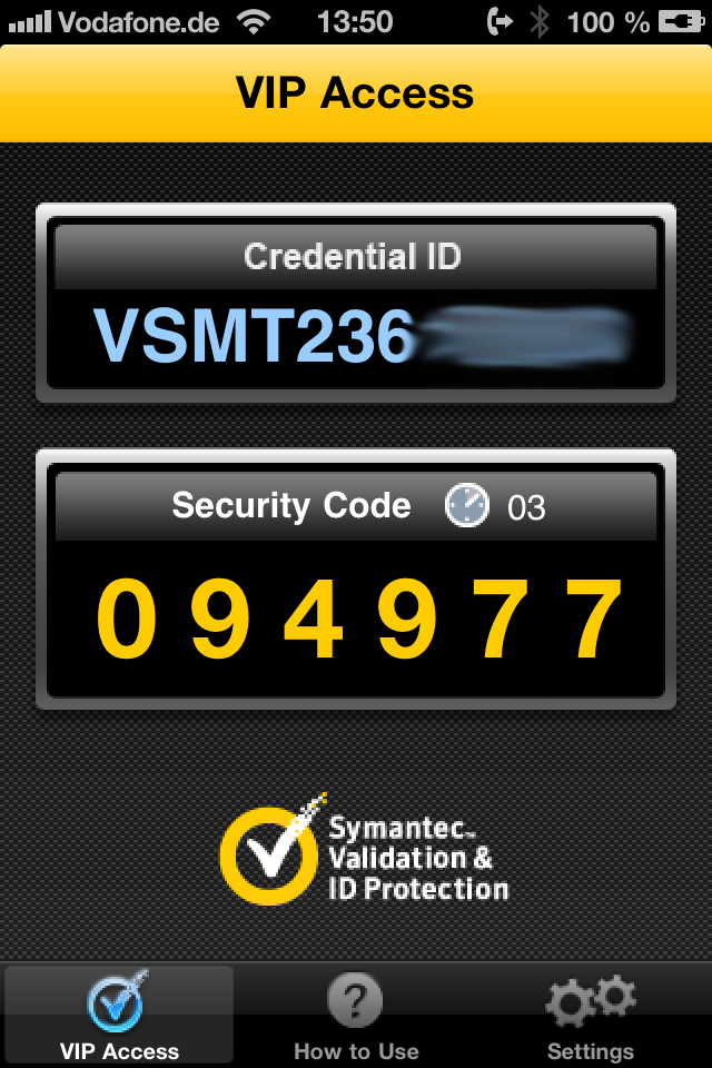 Symantec VIP Access Agent on iPhone