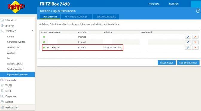 Fritzbox für Telefonie am Deutsche Glasfaser-Anschluss einrichten