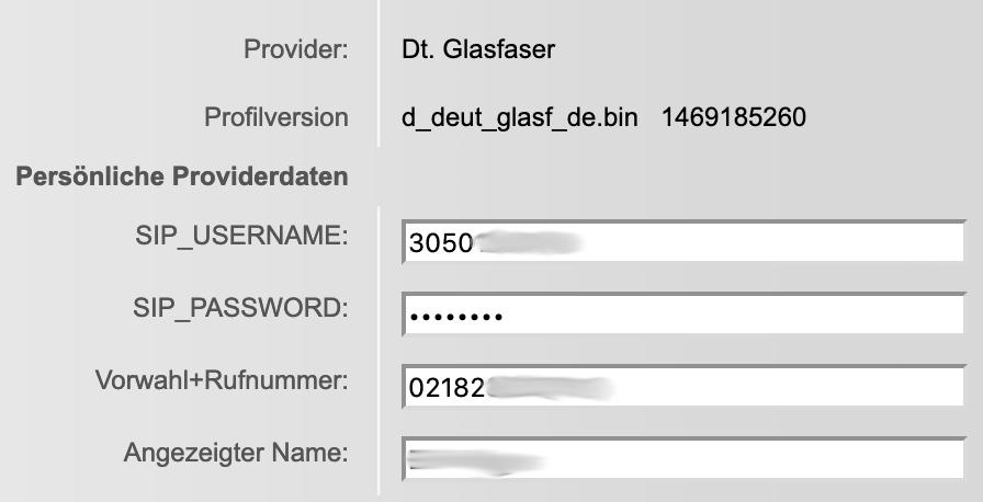 Gigaset S850A GO Box SIP-Account für Deutsche Glasfaser